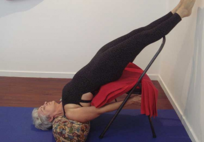 Kim Stansfield doing a supported shoulder stand