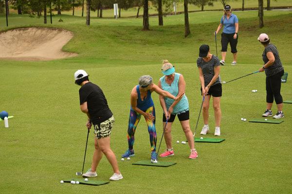 Kim Stansfield teaching swingfit golf yoga class