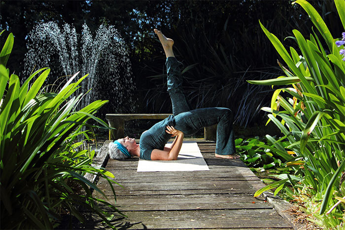 Kim Stansfield doing yoga in Clevedon gardens