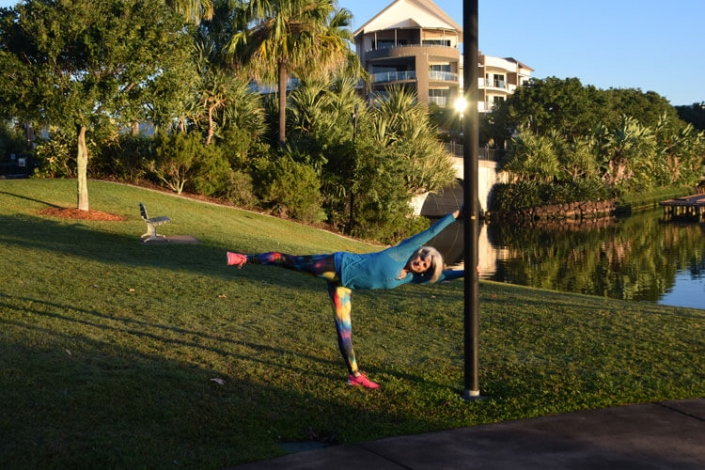 Kim Stansfield doing yoga at Emerald Lakes
