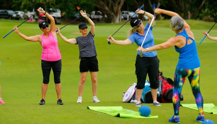 Kim Stansfield teach a swingfit golf yoga class